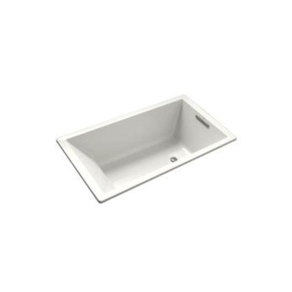 KOHLER Underscore 60-inch x 32-inch Acrylic Drop-In Soaking Bathtub with Reversible Drain in White