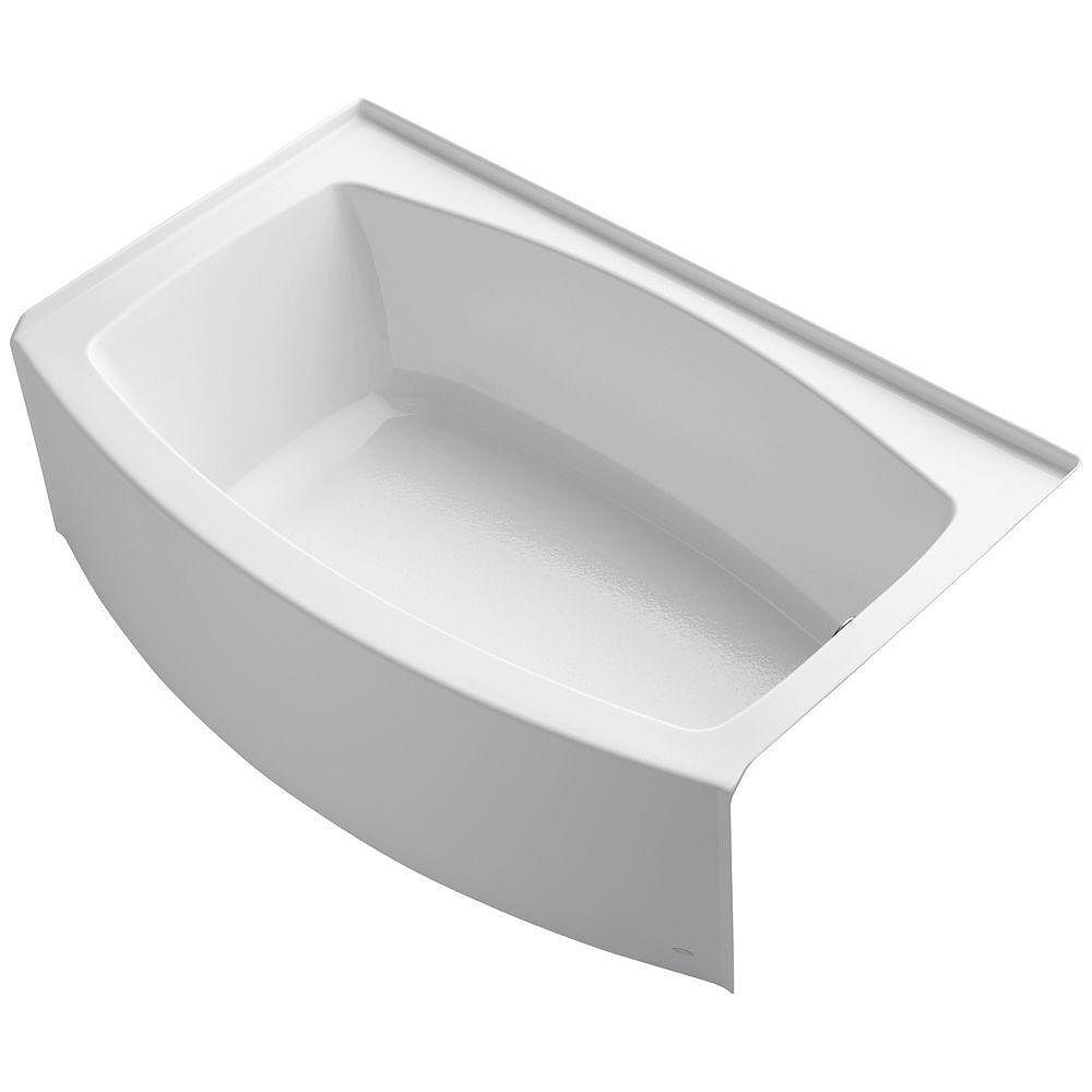 """KOHLER Expanse(R) 60"""" x 32-38"""" alcove bath with curved integral apron and right-hand drain"""