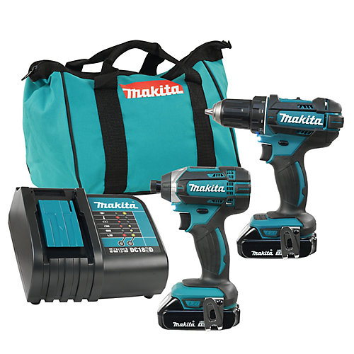 18V Lithium-Ion Cordless Drill and Impact Driver Combo Kit with 2 Batteries & Charger