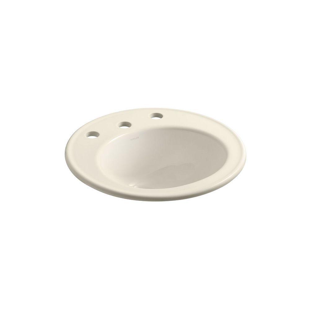 KOHLER Brookline(R) 19 inch diameter drop-in bathroom sink with 8 inch widespread faucet holes