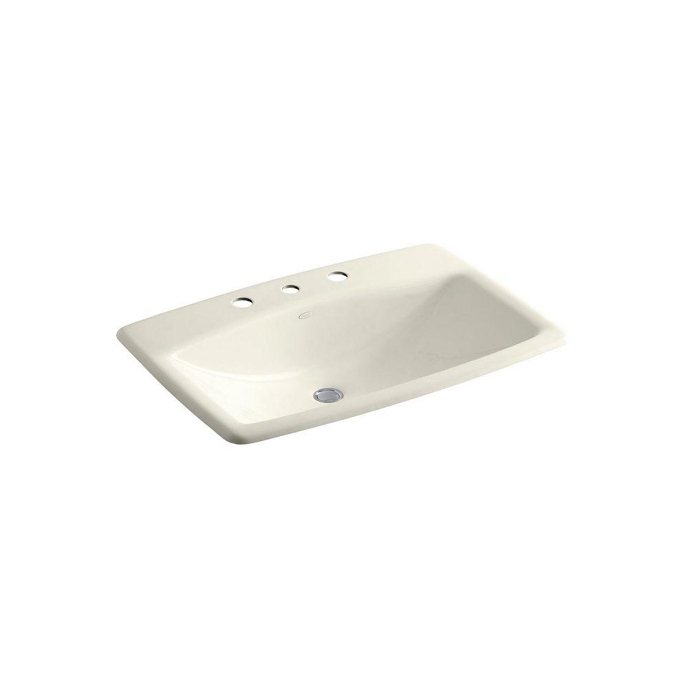 KOHLER Man's Lav(TM) drop-in bathroom sink with widespread faucet holes