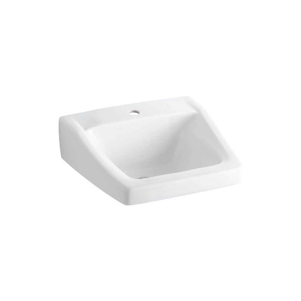 KOHLER Chesapeake(TM) 20 inch x 18-1/4 inch wall-mount/concealed arm carrier bathroom sink with single faucet hole