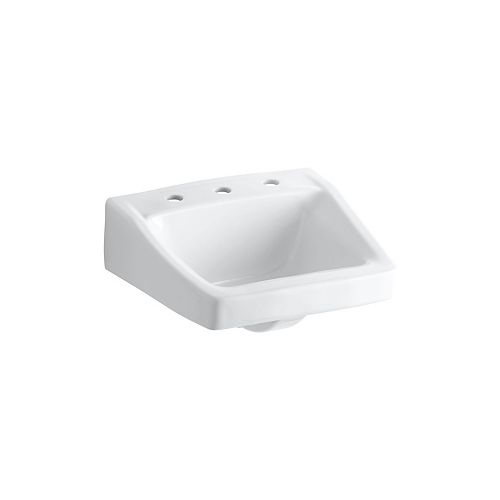Lavabo de salle de bain Chesapeake au mur/bras-support dissimule, 19 1/4 x 17 1/4 po, avec trous pour robinet deploye de 8 po
