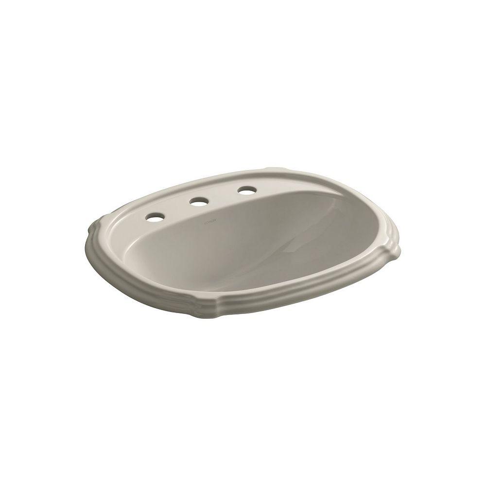 KOHLER Portrait(R) drop-in bathroom sink with 8 inch widespread faucet holes
