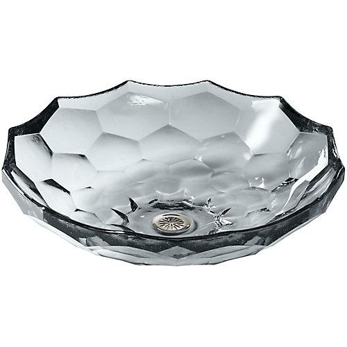 Briolette(TM) vessel faceted glass bathroom sink