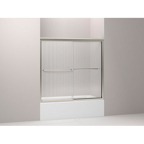 Fluence(R) Frameless Bypass Bath Shower Door With Falling Lines Glass
