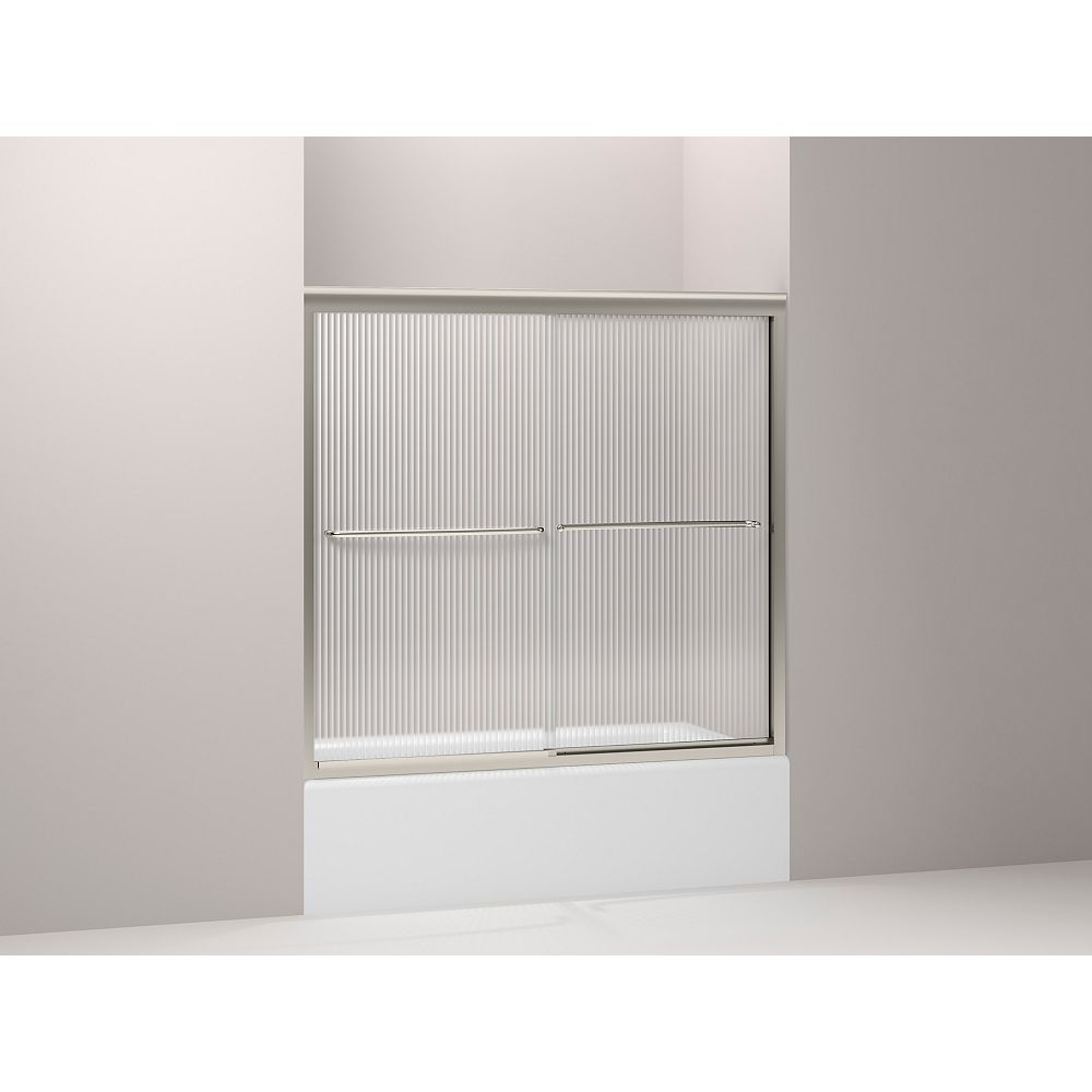 KOHLER Fluence(R) Frameless Bypass Bath Shower Door With Falling Lines Glass