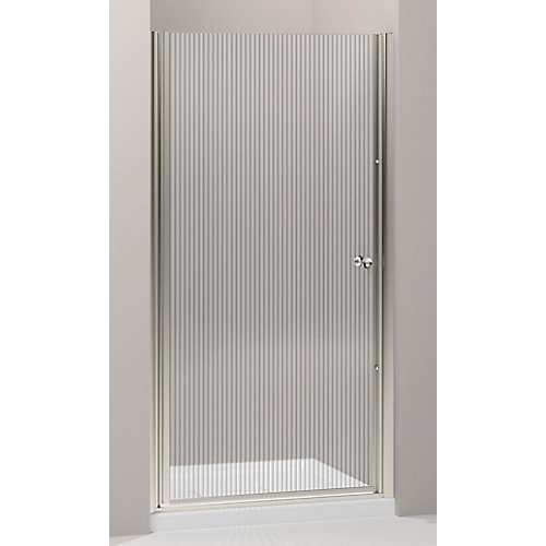 Fluence 32.75 in. W Frameless Pivot Shower Door With Falling Lines Glass and Matte Nickel Frame
