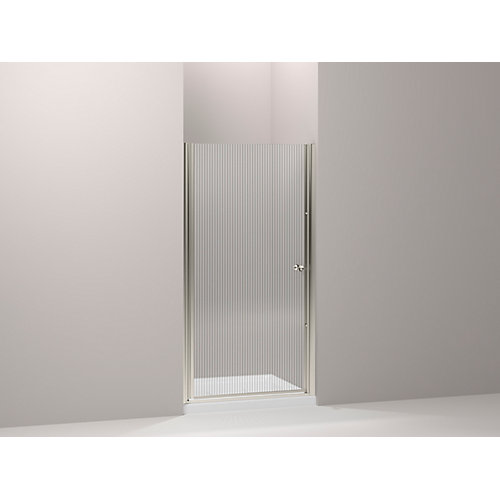 Fluence 66-inches L x 36-inches W x 24-inches H Frameless Pivot Shower Door in Matte Nickel