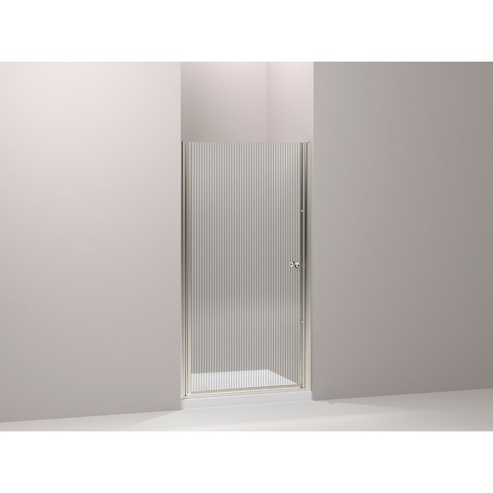 KOHLER Fluence 66-inches L x 36-inches W x 24-inches H Frameless Pivot Shower Door in Matte Nickel