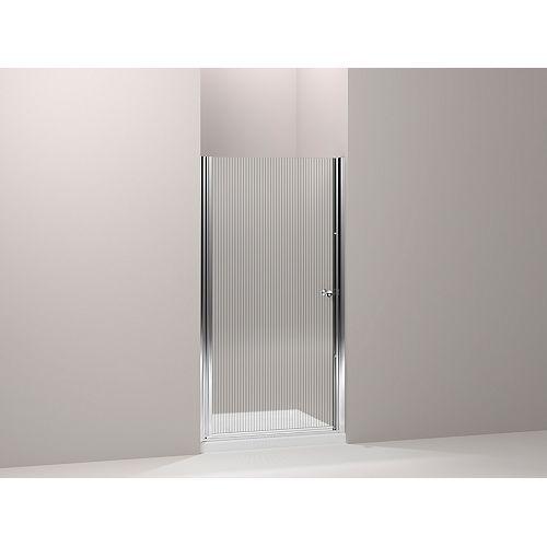 KOHLER Fluence 34 in. W Frameless Pivot Shower Door With Falling Lines Glass and Bright Silver Frame