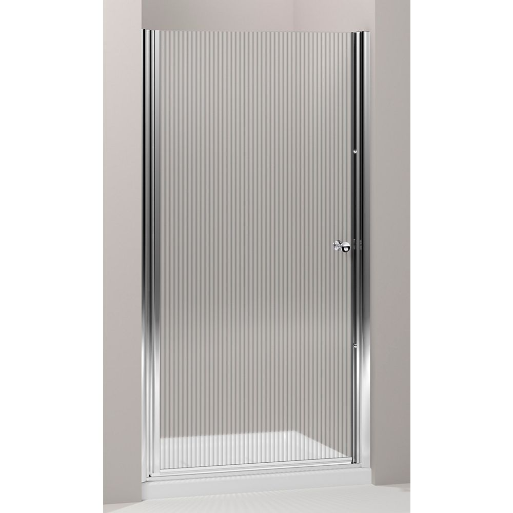 KOHLER Fluence 35.25 in. W Frameless Pivot Shower Door With Falling Lines Glass and Bright Silver Frame