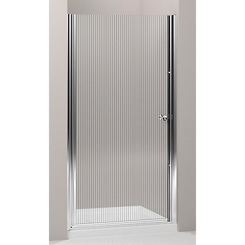 Fluence 36.5 in. W Frameless Pivot Shower Door With Falling Lines Glass and Bright Silver Frame