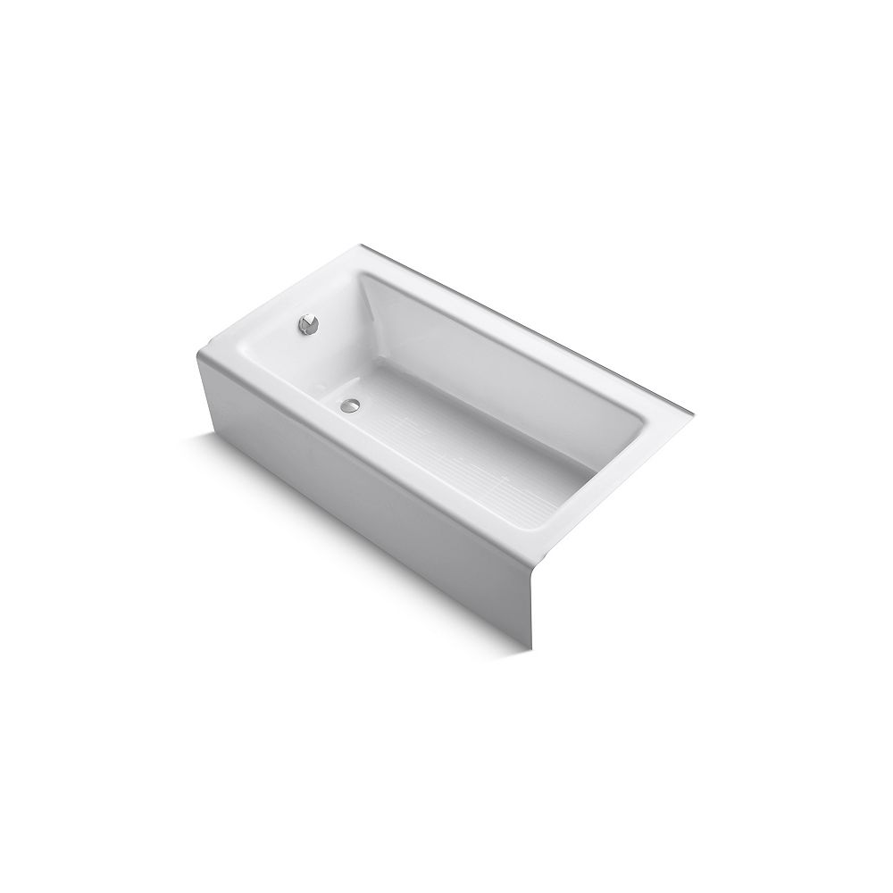 KOHLER Bellwether 60-inch x 32-inch ADA Cast Iron Alcove Bathtub with Integral Apron and Left-Hand Drain in White