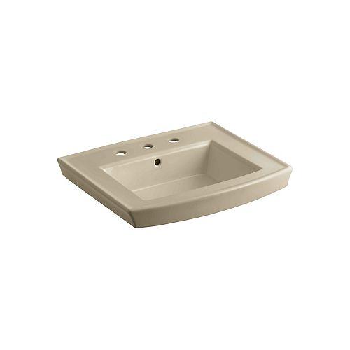 KOHLER Archer 60-inch L x 32-inch W x 20-inch H Bathroom Pedestal Sink Basin with 8-inch Centres