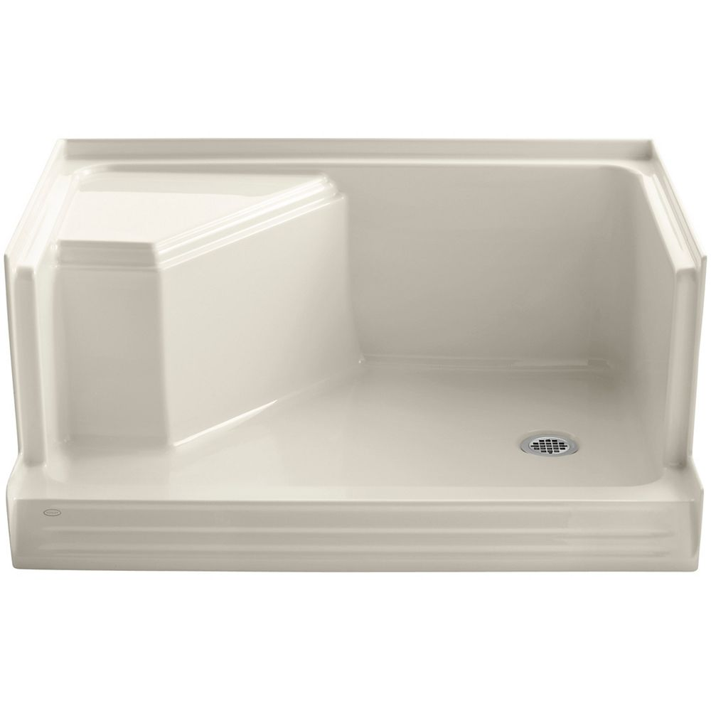 KOHLER Memoirs(R) 48 Inch Shower Receptor With Integral Seat At Left And Right-Hand Drain