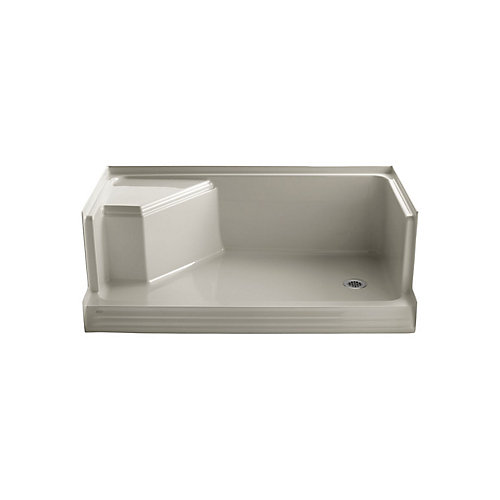 Memoirs(R) 60 Inch Shower Receptor With Integral Seat At Left And Right-Hand Drain