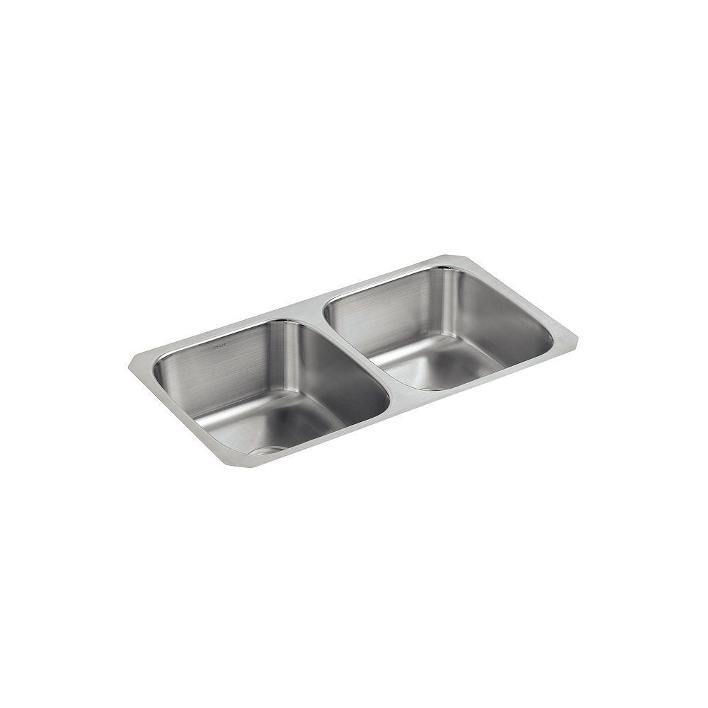 KOHLER Évier de cuisine encastré double Undertone(R) avec bassins profonds de 7-5/8 po