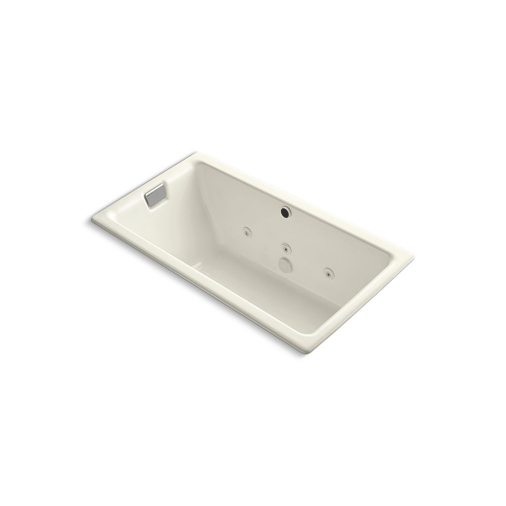 """KOHLER Tea-for-Two(R) 66"""" x 36"""" drop-in whirlpool with end drain and heater without trim"""