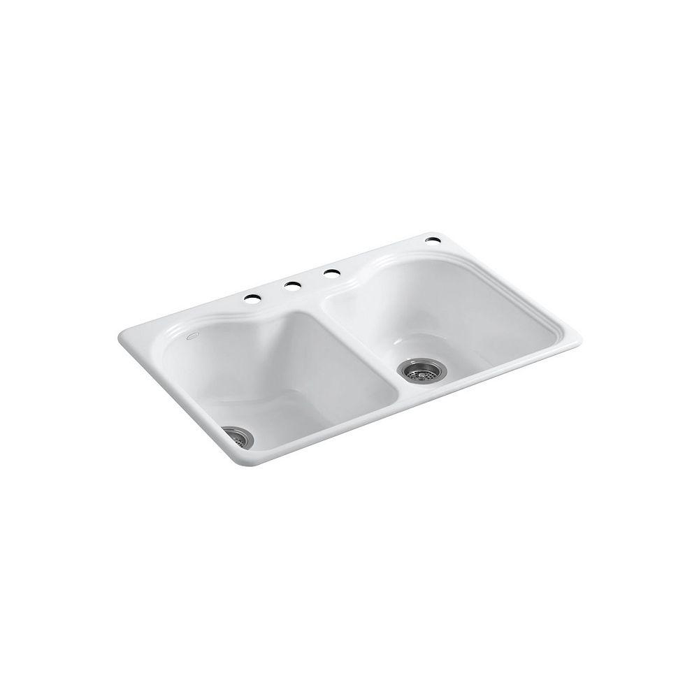 KOHLER Evier de cuisine a double cuve egale Hartland, installation sur surface, 33 x 22 x 9 5/8 po, avec 4 trous de robinet