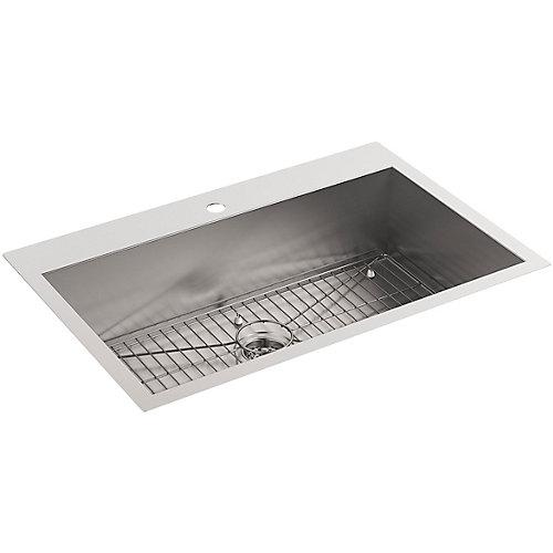 Vault Drop-In/Undermount Stainless Steel 33 in. 1-Hole Single Bowl Kitchen Sink