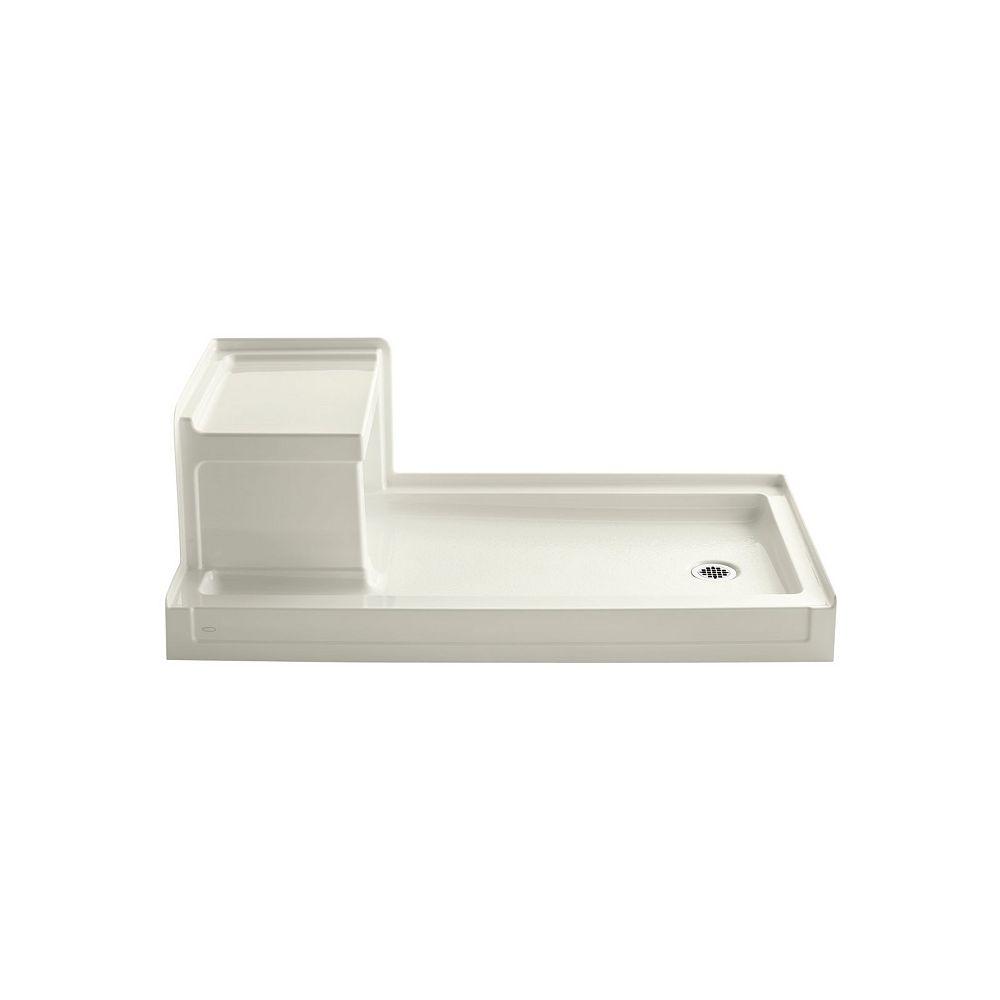 KOHLER Base de douche Tresham a seuil simple et a drain a droite, 60 x 32 po, avec siege integre a gauche