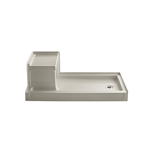 Tresham(TM) 60 Inch X 32 Inch Receptor With Integral Seat And Right-Hand Drain