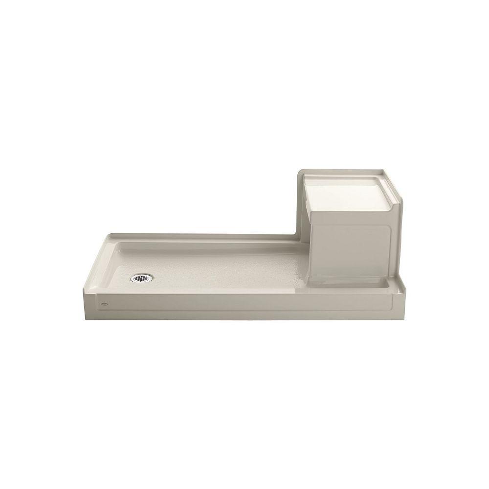 KOHLER Base de douche Tresham a seuil simple et a drain a gauche, 60 x 32 po, avec siege integre a droite