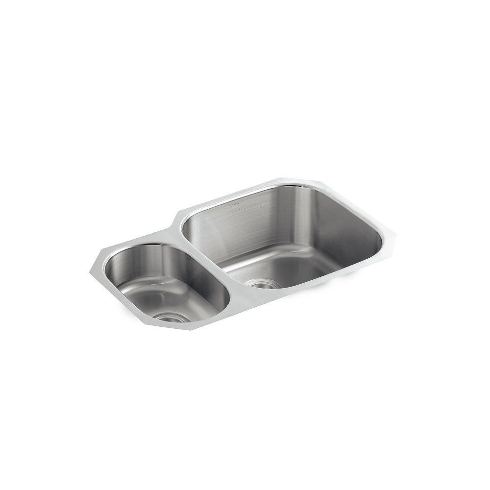 KOHLER Évier de cuisine encastré Undertone(R) élevé/abaissé avec la profondeur du bassin gauche de 5-1/2 po et profondeur du bassin droit de 9-1/2 po
