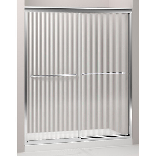 Fluence 59-5/8-inch x 70-5/16-inch Frameless Sliding Sliding Shower Door in Silver with Handle