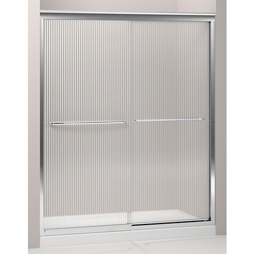 KOHLER Fluence 59-5/8-inch x 70-5/16-inch Frameless Sliding Sliding Shower Door in Silver with Handle