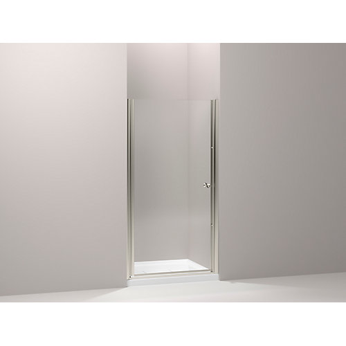 Fluence 34-inch x 65-1/2-inch Semi-Frameless Pivot Shower Door in Matte Nickel with Handle