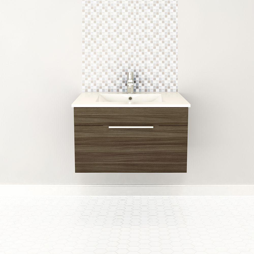 Cutler Kitchen & Bath Textures Collection 28.5625-inch W Vanity in Brown