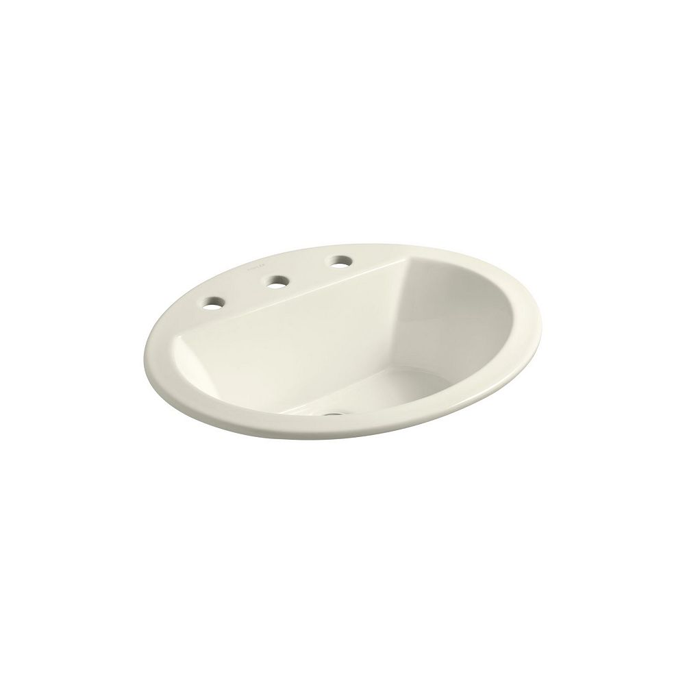 KOHLER Bryant(R) oval drop-in bathroom sink with 8 inch widespread faucet holes