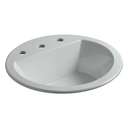 Bryant(R) round drop-in bathroom sink with 8 inch widespread faucet holes