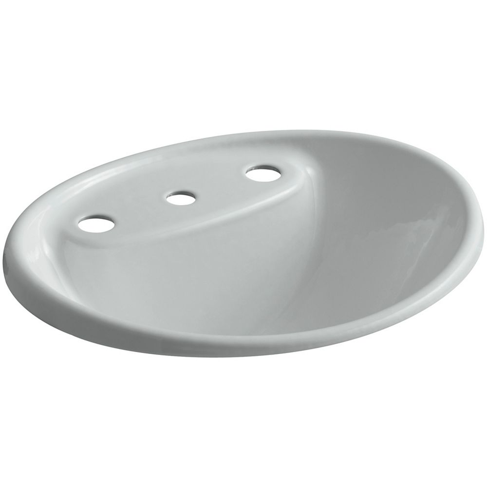 KOHLER Tides(R) drop-in bathroom sink with 8 inch widespread faucet holes