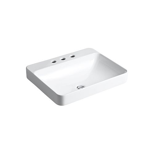 Vox Above-Counter Vitreous China Bathroom Sink in White with Overflow Drain