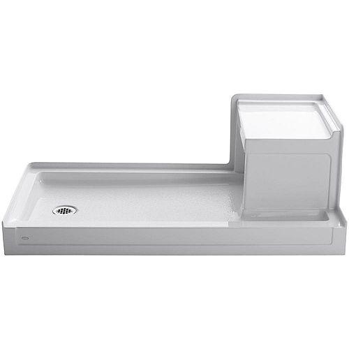 Tresham 60-inch x 32-inch Single Threshold Shower Base with Left-Hand Drain in White