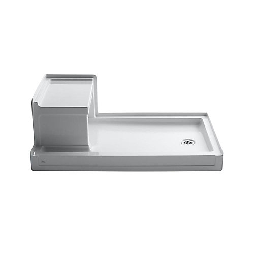 Tresham(TM) 60 Inch X 36 Inch Receptor With Integral Seat And Right-Hand Drain