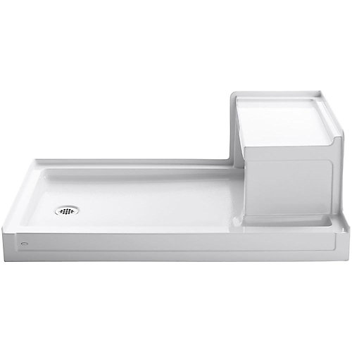 Tresham 60-inch x 36-inch Single Threshold Left-Hand Drain Shower Base with Right-Hand Seat in White