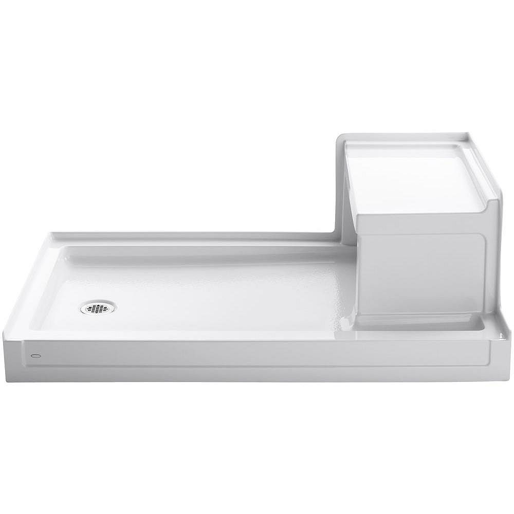 KOHLER Tresham 60-inch x 36-inch Single Threshold Shower Base with Left-Hand Drain in White
