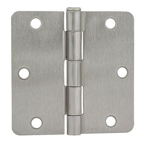 Charnière de porte 3-1/2 po en nickel satiné avec rayon de 1/4 po, 1pc