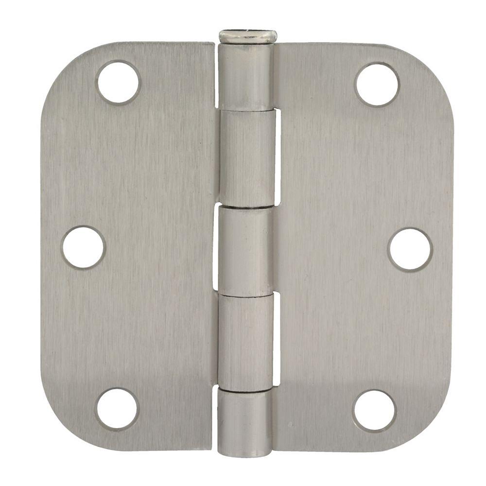 Everbilt 3 1/2-inch Satin Nickel 5/8rd Door Hinge