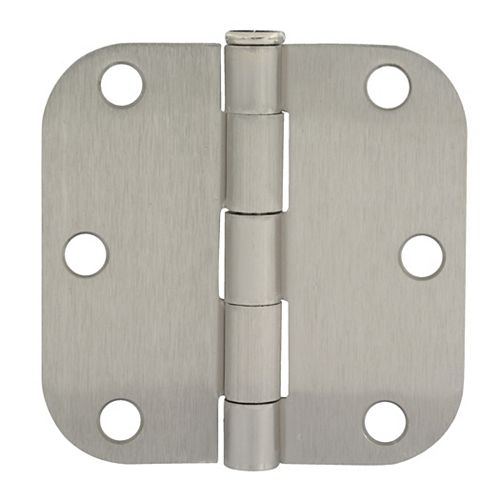3 1/2-inch Satin Nickel 5/8rd Door Hinge
