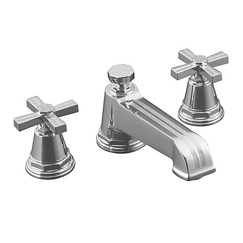 Pinstripe(R) deck-mount bath faucet trim for high-flow valve with cross handles, valve not included