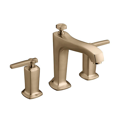 Margaux(R) deck-mount bath faucet trim for high-flow valve with non-diverter spout