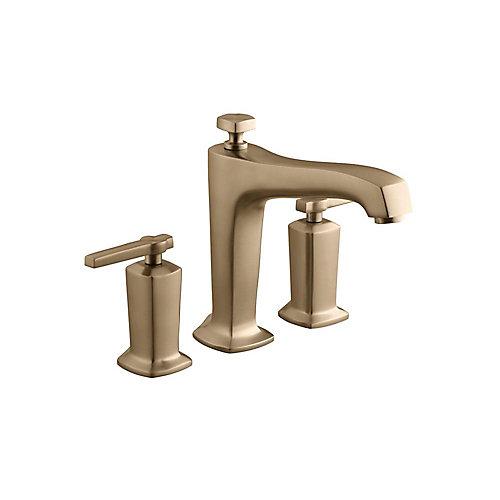 Margaux(R) deck-mount bath faucet trim for high-flow valve with diverter spout and cross handles