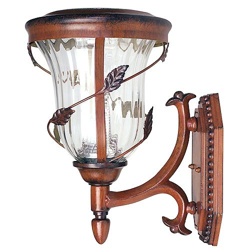 Gama Sonic12.5 in. Wall Mount Outdoor Antique Bronze 6 LEDs Solar Lamp
