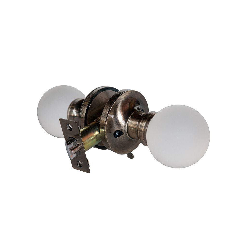 Krystal Touch Moon Antique Brass Privacy LED Door Knob
