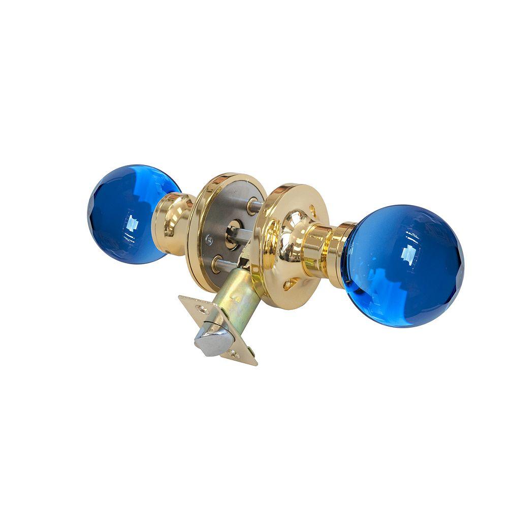 Krystal Touch Bouton de porte à DEL verrouillable Saphir, base cuivrée